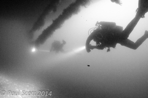 Divers under the Bow of the Port Napier