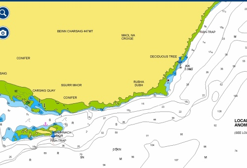 Meldon and Fish Trap Dive Sites Marked with Blue Pins