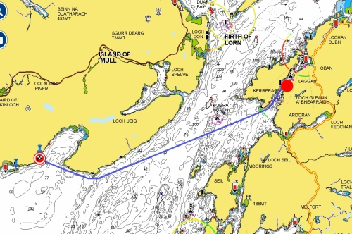 Route from Puffin Divers Oban to Meldon15.4 Nautical Miles